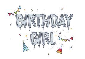 Vetor de menina de aniversário grátis