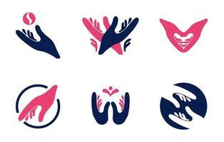 conjunto de logotipo de mão vetor