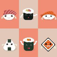 conjunto de caracteres sushi kawaii