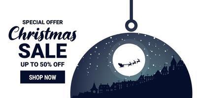 banner de marketing de promoção de venda de natal e inverno vetor
