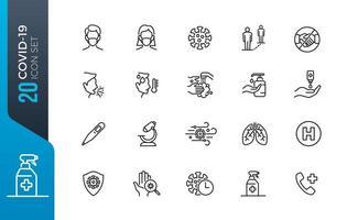 conjunto de ícones de pandemia covid-19 vetor