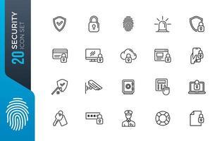 conjunto de ícones de segurança mínima vetor