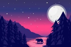 paisagem noturna com céu estrelado e silhueta de urso vetor