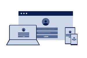 login com design de dispositivos diferentes