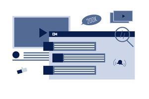design de recomendação de vídeo online vetor