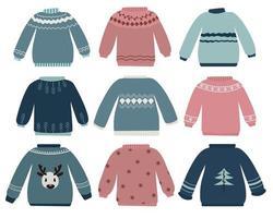 conjunto de suéter velho e feio vetor