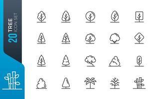 conjunto mínimo de ícones de árvore vetor