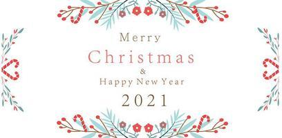 Feliz Natal ano novo 2021 com desenho de ramos florais