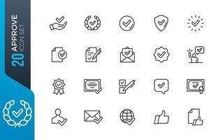 conjunto mínimo de ícones de aprovação vetor