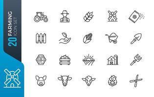 conjunto mínimo de ícones de agricultura vetor