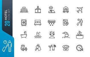 conjunto mínimo de ícones de hotel vetor