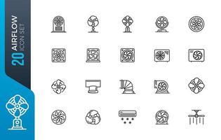 conjunto de ícones de fluxo de ar mínimo