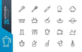 conjunto mínimo de ícones de cozinha