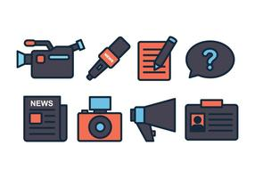 Conjunto de ícones do jornalista vetor