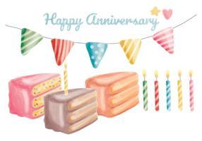 Elementos de aniversário desenhados à mão no vetor