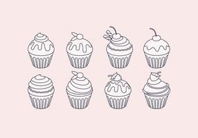 Conjunto de cupcake do esboço do vetor