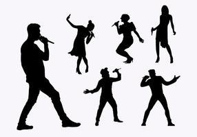 Flat Silhouette Singers vetor