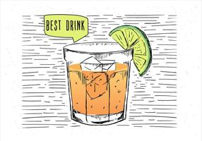 Ilustração desenhada mão do cocktail do vetor desenhado mão