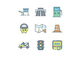 Ícones gratuitos do tráfego rodoviário vetor