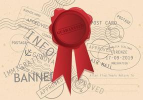 Cachet no cartão vetor