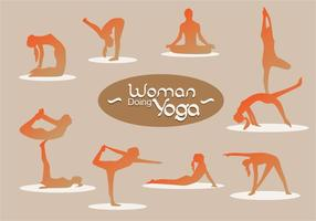Silhueta Mulher Fazendo Yoga vetor