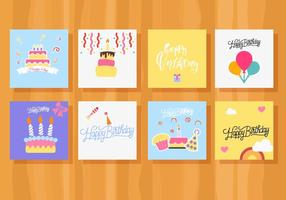 Vector de coleção de cartões de aniversário grátis