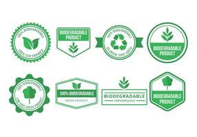 Coleção de emblemas de vetores biodegradáveis