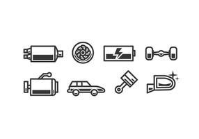 Ícones de vetor de acessórios de carro