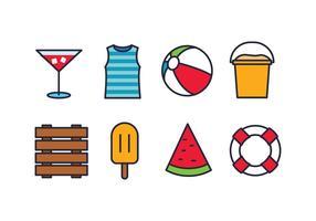 Conjunto de ícones de praia vetor