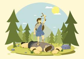 Goliat livre derrotado por David Illustration vetor