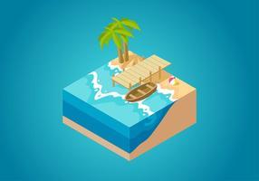 Vector livre isométrico à beira mar