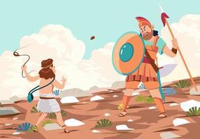 Goliath Derrotado por David vetor