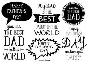 Coleção da etiqueta do dia do pai desenhada à mão vetor