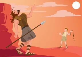 Ilustração vetorial de ilustração de david e goliath vetor