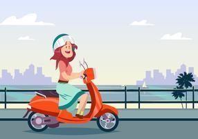 Jovem, mulher, andar, scooter vetor