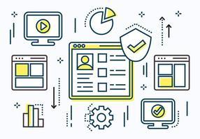Elementos vetoriais lineares de dados digitais gratuitos vetor
