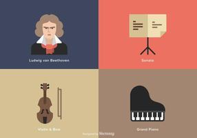Ícones de vetor plano de música Beethoven