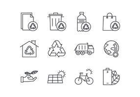 Conjunto de ícones de gerenciamento de resíduos e resíduos gratuitos vetor