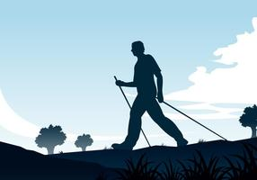 Vetor nórdico de silhueta de caminhada