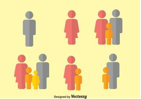 Vector de ícones planos familiares