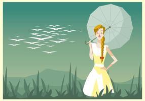 Jovem, mulher bonita com um vetor de veado e guarda-chuva