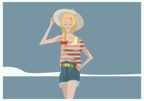 Menina hipster com trança e vetor de chapéu