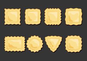 Conjunto de ícones de massa de Ravioli Set vetor