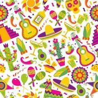 padrão sem emenda com elementos mexicanos