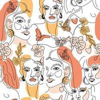 conjunto de rostos femininos, padrão de estilo de linha mínimo