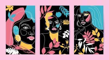 conjunto de rostos femininos, cartões de estilo de linha mínimo