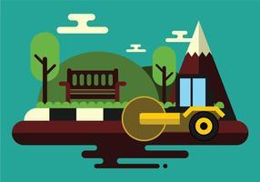 Trabalhadores dirigem o Steamroller na nova estrada vetor