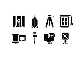 Ícones de câmera e acessório vetor