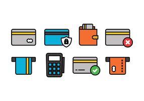 Conjunto de ícones do cartão de crédito vetor