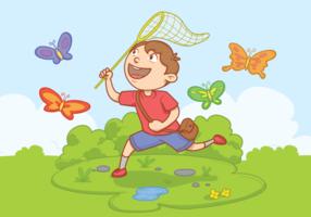 Menino com ilustração vetorial da rede borboleta vetor